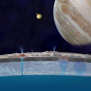 Απεικόνιση των πιδάκων νερού στην επιφάνεια του δορυφόρου.